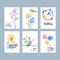 Hand Drawn Watercolor Birthday Greeting Cards Stock Photography - 72808792