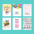 Set Of Hand Drawn Watercolor Illustrations For Birthday Greeting Cards Stock Images - 72808874