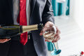 Man Filling Decorated Glass With Champagne Royalty Free Stock Image - 72824586