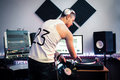 Dj Working With Mixing Panel At Studio Royalty Free Stock Image - 72829946