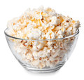 Glass Bowl With Popcorn  On White Background Royalty Free Stock Photo - 72834375