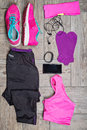 Flat Lay Shot Of Woman S Sport Accessories Royalty Free Stock Photo - 72843625