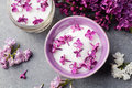 Lilac Flowers Sugar And Syrup, Essential Oil With Flower Blossoms In Glass Jar Top View Stock Photo - 72851380