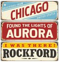 Retro Tin Sign Collection With USA City Names Stock Image - 72852781