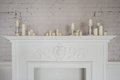 Fireplace Beautiful Decorations With Candles In Comfortable Living Room Stock Images - 72853964