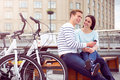 Couple Listening To Music On The Smartphone Royalty Free Stock Photography - 72857997