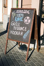 Menu Board Stand And Outdoor Cafe Euro 2016 Stock Photos - 72858163