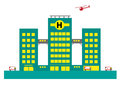 Hospital Building With Air And Land Ambulances. Editable Clip Art. Royalty Free Stock Photo - 72858755