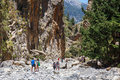 Tourists Hike In Samaria Gorge In Central Crete, Greece. The National Park Is A UNESCO Biosph Royalty Free Stock Images - 72868149