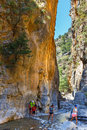 Tourists Hike In Samaria Gorge In Central Crete, Greece. The National Park Is A UNESCO Biosph Royalty Free Stock Image - 72868156
