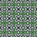 Green Floral Abstract Background. Seamless Pattern With Symmetric Geometric Ornament. Royalty Free Stock Images - 72868419