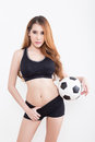 Young Sexy Woman With Soccer Ball Stock Image - 72868611