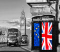 European Union And British Union Flag On Phone Booths Against Big Ben In London, England, UK, Stay Or Leave, Brexit Stock Images - 72879434