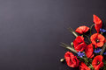 Heads Of Red Poppies, Rye And Cornflowers On Black Background Fl Stock Photo - 72882850