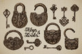 Vintage Keys And Locks. Hand-drawn Collection Of Vector Retro Objects Stock Photography - 72896482