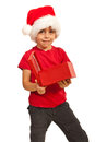 Child boy with open gift Royalty Free Stock Photography