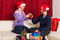 Christmas couple toasting with wine Royalty Free Stock Photos