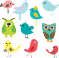 Funny Set of cute owl birds Royalty Free Stock Image
