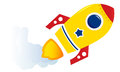 Flying cartoon yellow rocket Stock Photos