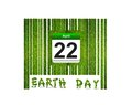 Barcode Earth day. Stock Photo