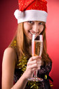 Smiling Mrs. Santa With Champagne Royalty Free Stock Photos - 7290238