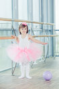 Adorable Child Dancing Classical Ballet In Studio. Royalty Free Stock Photography - 72900307