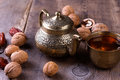 Traditional Arabic Tea Set And Dried Dates. Royalty Free Stock Images - 72902899