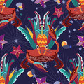 Exotic Tropical Crab Seamless Pattern. Stock Photo - 72908580