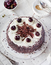 Black Forest Cake ,decorated With Whipped Cream And Cherries Schwarzwald Pie, Dark Chocolate Royalty Free Stock Photo - 72911235