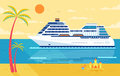 Illustration Of Cruise Ship , Side View, Near Beach, Palm Trees Stock Photo - 72934240
