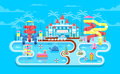 Illustration Of Exterior Water Park Royalty Free Stock Image - 72936696