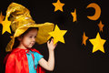 Little Girl Playing Sky Watcher With Handmade Star Royalty Free Stock Photography - 72937647
