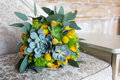 Green And Yellow Wedding Bouquet Royalty Free Stock Photography - 72939097
