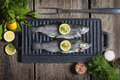 Rainbow Trout On Griddle Royalty Free Stock Photo - 72941855