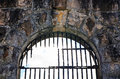 Broken Rusty Iron Bars On Old Jail (gaol) Arched Window Royalty Free Stock Photography - 72945357