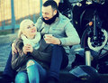 Couple Drinking Coffee Near Motorcycle Stock Image - 72952091