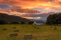 White Barn In Rural Utah With Hay Bales. Stock Photography - 72972502