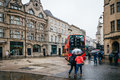 People Crossing The Street A Rainy Day Royalty Free Stock Photography - 72975577