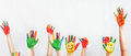 Lot Of Painted Hands Raised Up, Children S Day Royalty Free Stock Photo - 72977505