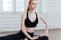 Young Fitness Woman Sitting In Yoga Position Stock Photos - 72977593