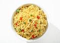 Vermicelli With Green Peas And Chopped Bell Pepper In White Bowl Royalty Free Stock Photography - 72981847