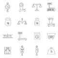 Linear Scales And Weight Vector Icons Set Stock Photo - 72985040
