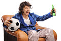 Excited Football Fan Watching A Game On TV Royalty Free Stock Image - 72985696