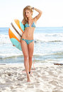 Beautiful Sexy Young Woman Surfer Girl In Bikini With Surfboard Royalty Free Stock Photography - 72989077