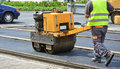 Road Roller At Work Stock Images - 72991994