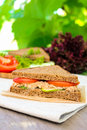 Sandwich With Rye Brown Bread, Ripe Tomatoes, Cucumbers And Tuna Fish For Healthy Snack Stock Photography - 72995462