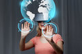Woman In Virtual Reality Headset Or 3d Glasses Stock Photo - 72995630