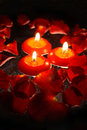 Candles With Rose Petals Stock Images - 739904