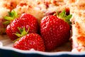 Three Strawberries In Blue Bowl With Fruit Pie Royalty Free Stock Images - 73007099
