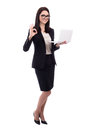 Young Business Woman With Laptop Showing Ok Sign Isolated On Whi Royalty Free Stock Photos - 73023188